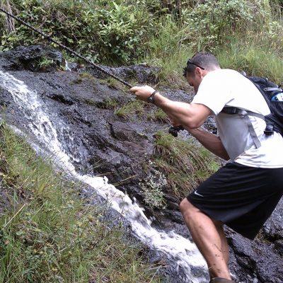 Climbing up the third waterfall