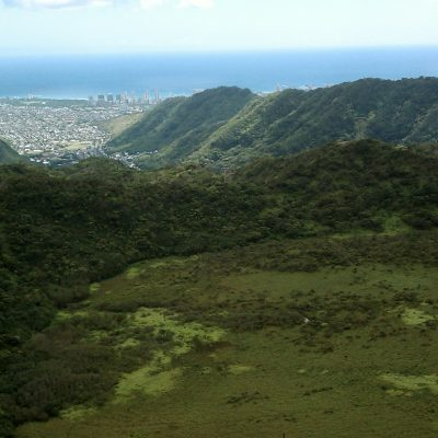 Top of the crater, view of Diamondhead and Honolulu